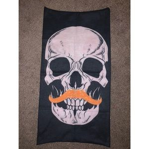 Skeleton Orange Mustache Face Scarf 🧡